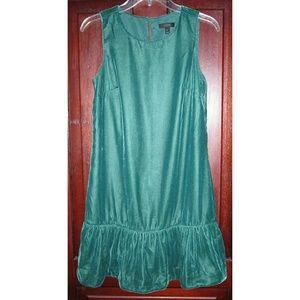 Vince 2 XS Velvet Dress Sleeveless Ruffle Green